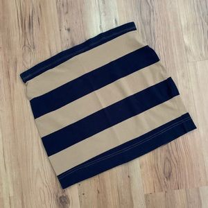 H&M navy and tan striped mini skirt
